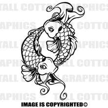 koi fish black vinyl decal