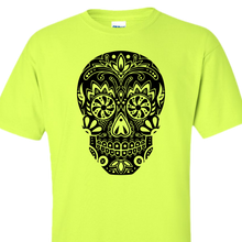 sugar skull black on safety green shirt