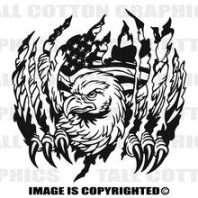 eagle and flag black vinyl decal
