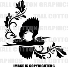 bird black vinyl decal