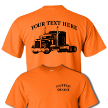 KENWORTH W900 Semi Truck  Flat Top - Big Rig - 18 Wheeler  - Personalized Custom Cotton T-shirt - #BR016