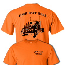 LONE STAR INTERNATIONAL Day Cab Semi Truck - Big Rig - 18 Wheeler - Personalized Custom Cotton T-shirt - #BR017