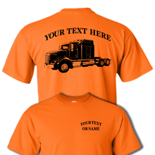 KENWORTH T800 Flat Top Semi Truck - Big Rig - 18 Wheeler - Personalized Custom Cotton T-shirt - #BR018
