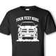 Black shirt with white design