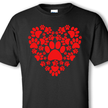 dog paws heart black shirt