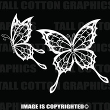 2 white butterfly decals