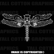 White dragonfly decal
