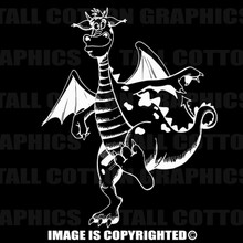 white cartoon dragon decal