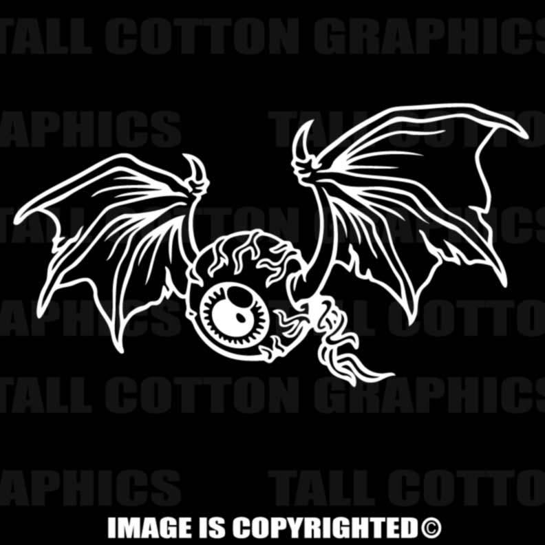 Bat Wing Flying Eyeball Vinyl Decal
