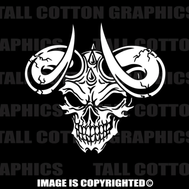Devil Satan Skull With Horns Vinyl Decal 160
