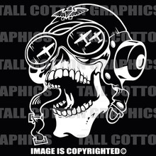 aviator skull white vinyl decal