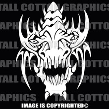 alien skull white vinyl decal