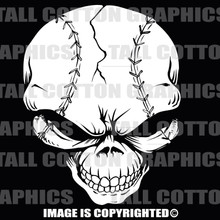 base ball skull white vinyl decal