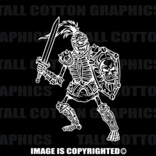 knight skeleton white vinyl decal