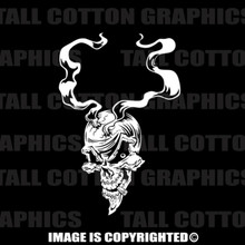 bullet smoking skull white vinyl decal