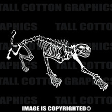 cat skeleton white vinyl decal