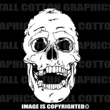 creepy skull white vinyl decal