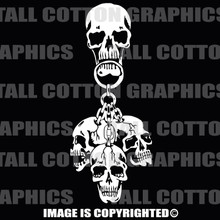4 skulls white vinyl decals
