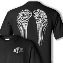 wings and monogram black shirt