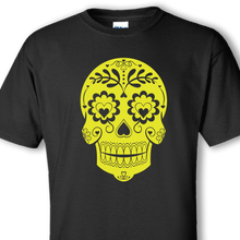 sugar skull neon green on black shirt