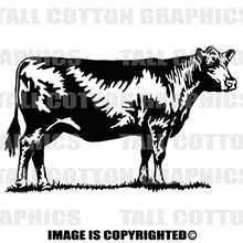 black angus cow black decal