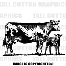 cow and calf black decal