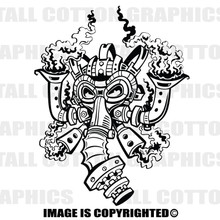 steampunk gas mask black vinyl decal