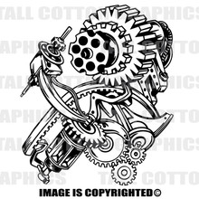 gear machine black vinyl decal