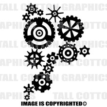 gears black vinyl decal