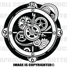 clock black vinyl decal