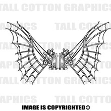 mechanical wings black vinyl decal