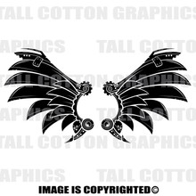 Wings black vinyl decal