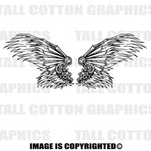 feather wings black vinyl decals