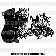 cub and fawn black vinyl decal