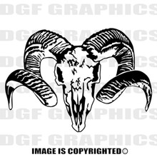 ram skull black vinyl decal