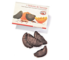 These sweet little treats are like a slice of heaven dipped in silky chocolate. Brothers Jose, Manuel, and Fernando have continued the family tradition making chocolate dating back to their grandfather's time in Calatayud, Spain.  The brothers use fresh oranges from neighboring Valencia that are candied and then dipped in Caro's 55% dark chocolate. Each orange slice is cooked in syrup and then hand-dipped to help achieve a 50% orange and 50% chocolate ratio for the ultimate indulgence.  4.9 ounces Candied delicias de Naranja are Valencia oranges dipped in Spanish 55% dark chocolate Ideal for small treats throughout the day or light desserts Topping for ice cream, gelato, cakes, sundaes, and sweet creams