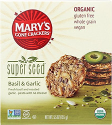 Mary's Gone Crackers Super Seed recipe, generously packed with seeds, with added fresh basil and roasted garlic to bring the bold, familiar taste of pesto.