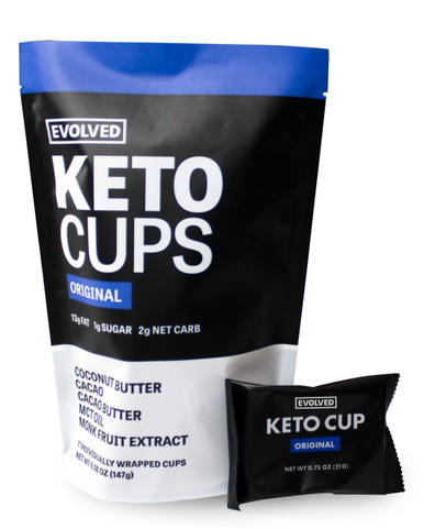 The perfect keto-friendly snack has arrived! With 13g of fat and 2g net carb in every cup you can fuel yourself throughout the day and stay on track. Each cup has 100% cacao on the outside and lightly sweetened coconut butter with added MCT oil on the inside. We use the highest quality ingredients to help you achieve peak performance!  To maintain the best consistency please store cups in a refrigerator.  7 cups per pouch  Allergy warning: contains tree nuts. Manufactured in a facility that processes various tree nuts.  NUTRITION FACTS Nutrition Facts: Serv Size: 1 cup (21g), Servings Per Container: 7, Amount Per Serving: Calories: 130, Total Fat: 12g (16% DV), Saturated Fat: 10g (50% DV), Trans Fat: 0g, Sodium: 5mg (0% DV), Total Carb: 5g (2% DV), Dietary Fiber: 3g (12% DV), Sugars: 1g, Protein: 2g (4%). *Percent Daily Values (DV) are based on a 2,000 calorie diet. INGREDIENTS Organic Coconut Butter, Organic Cacao*, Organic Cacao Butter, MCT Oil, Organic Monk Fruit Extract  *Rainforest Alliance CertifiedTM 88% Rainforest Alliance CertifiedTM Ingredients