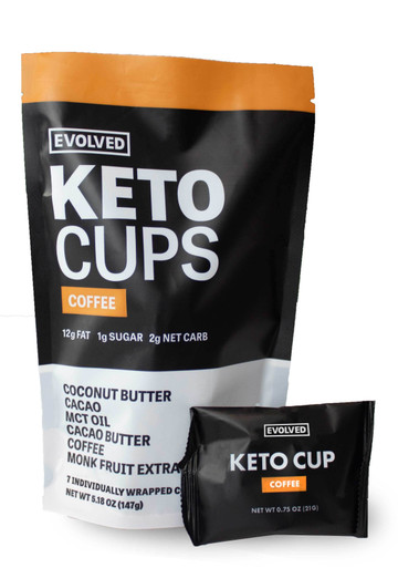 The perfect keto-friendly snack has arrived! With 12g of fat and 2g net carb in every cup you can fuel yourself throughout the day and stay on track. Each cup has 100% cacao on the outside and lightly sweetened coconut butter with added MCT oil and coffee on the inside. We use the highest quality ingredients to help you achieve peak performance!  To maintain the best consistency please store cups in a refrigerator.  7 cups per pouch  24mg of caffeine per cup   Allergy warning: contains tree nuts. Manufactured in a facility that processes various tree nuts.  NUTRITION FACTS Nutrition Facts: Serv Size: 1 cup (21g), Servings Per Container: 7, Amount Per Serving: Calories: 120, Total Fat: 12g (16% DV), Saturated Fat: 10g (49% DV), Trans Fat: 0g, Sodium: 5mg (0% DV), Total Carb: 5g (2% DV), Dietary Fiber: 4g (16% DV), Sugars: 1g, Protein: 2g (4%). *Percent Daily Values (DV) are based on a 2,000 calorie diet. INGREDIENTS Organic Coconut Butter, Organic Cacao*, Organic Cacao Butter, MCT Oil, Organic Coffee, Organic Monk Fruit Extract  *Rainforest Alliance CertifiedTM 88% Rainforest Alliance CertifiedTM Ingredients