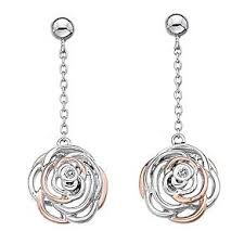 Hot Diamonds long drop earrings Eternal Rose DE352