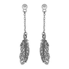 Hot Diamonds long drop earrings Feather DE366