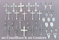 Lot of 40 Rosary Crucifixes & Centers