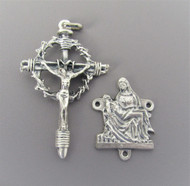 Rosary CENTER & CRUCIFIX Set PIETA & Crown with Thorns Cross