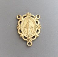 Miraculous Medal Scallop Rosary Center Gold*