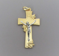 "Lilly Rosary Crucifix 2"" Gold/Silver"