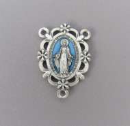 Miraculous Medal Scallop Rosary Center Blue*