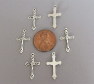 TINY Rosary Crucifix Silver - Lot 6