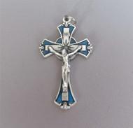 """BLUE & Silver Enamel Rosary Crucifix 2"""""""