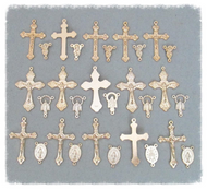 Set of 30 Rosary Crucifixes & Centers GOLD