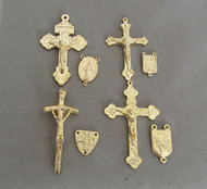 8 Rosary Crucifixes & Centers LARGE Gold